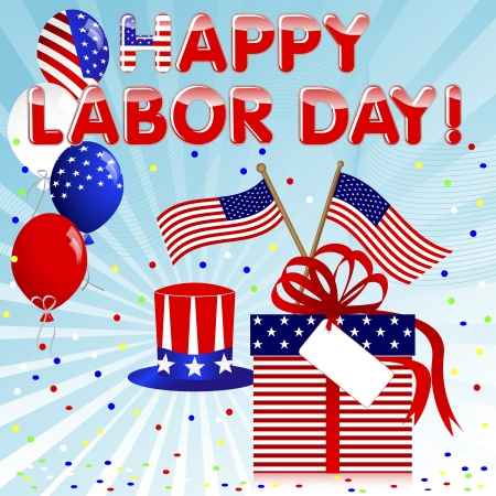 weekend: Labor Day background with gift and balloons