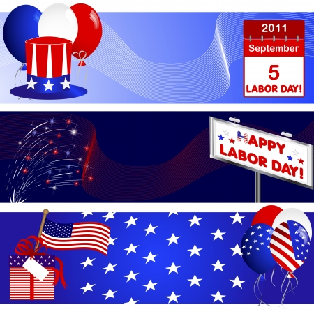 Set banners of Labor Day with USA symbolism Vector