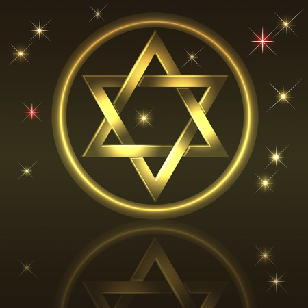 hashanah: Holiday background with gold David star