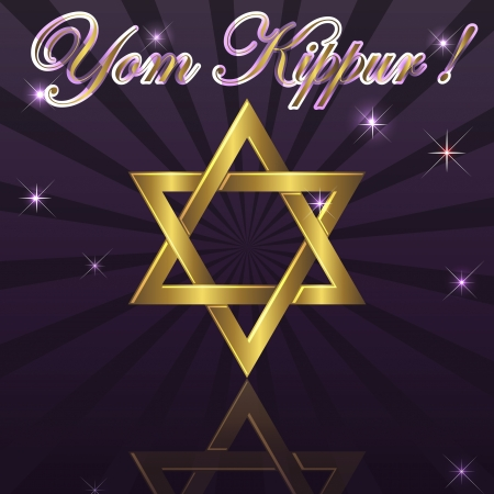 rosh: Yom Kippur a background with gold David star Illustration