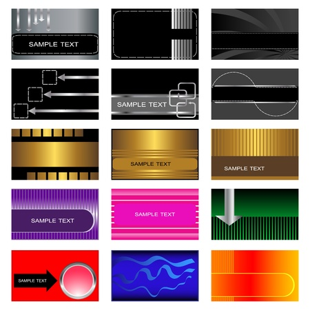 Set of 15 business and gift cards Vector