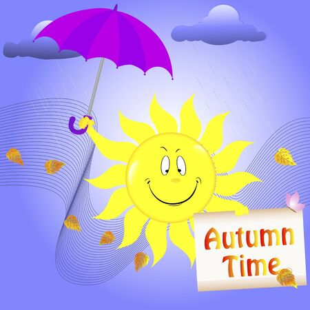 Smiling sun with umbrella and placard. Autumn time Vector