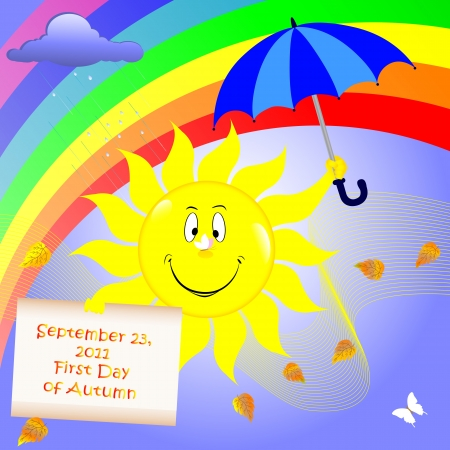 First Day of Autumn. Sun with umbrella and placard Vector
