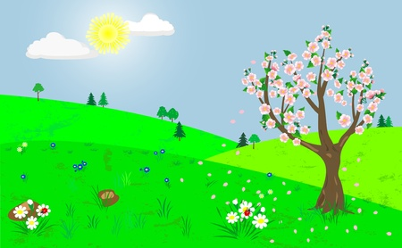 Spring landscape with the blooming tree Illustration