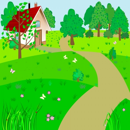 residential home: Green landscape with house and road