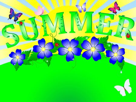 Summer background with grass and flowers Vector