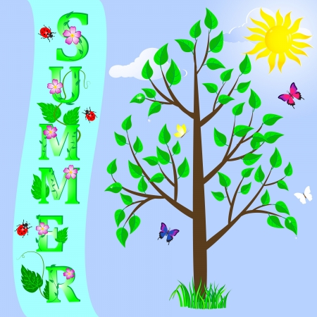 Summer background with tree and word  Vector