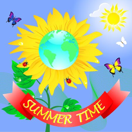 Summer time. Banner and sunflower with globe Vector