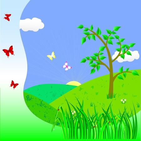 Paisaje con árbol y mariposas Foto de archivo - 14437868