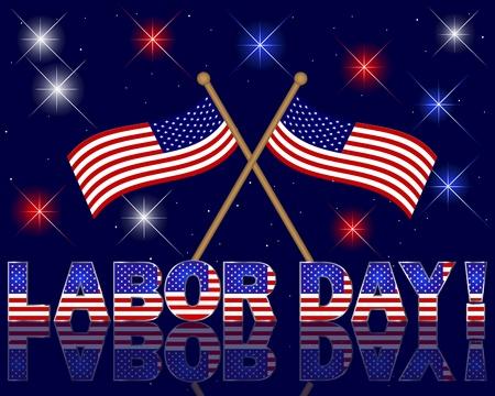 tag und nacht: Labor Day Feierliche Hintergrund mit einem sch�nen Text, Feuerwerk und Fahnen Illustration