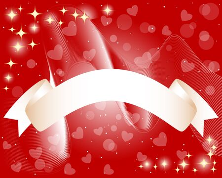 Scroll Banner on a background with waves, hearts and stars Vector