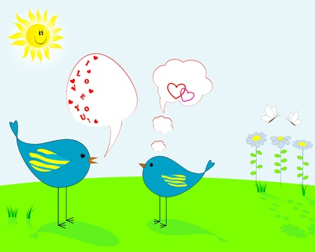 Two enamoured birds with speech bubbles against a spring landscape with the smiling sun and flowers Vector