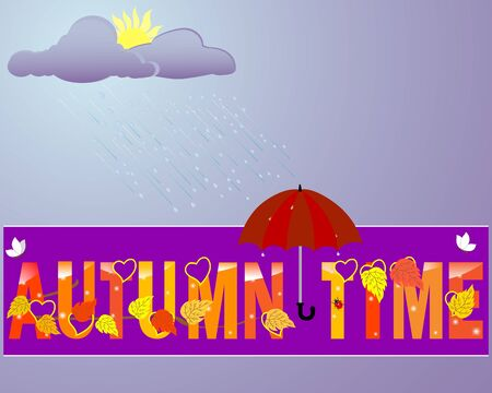 Autumn time label with yellow leaves and an umbrella with rain drops against the overcast sky with clouds Vector