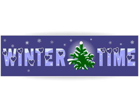 snowcovered: Winter time a label with a snow-covered fir-tree and snowflakes