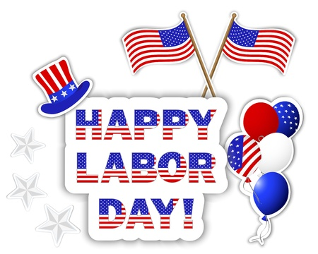 Labor Day stickers with a beautiful text, hat, flags and colorful balloons.