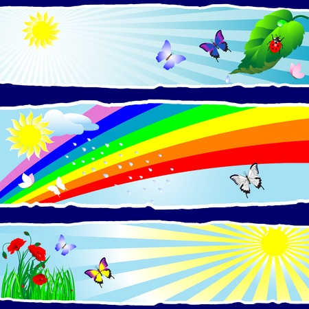 Summer banners with rainbow, sun and butterflies Vector