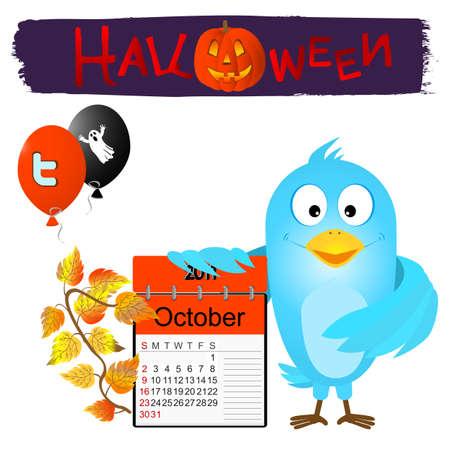 Blue bird with halloween calendar and balloons