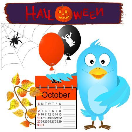 calendario octubre: Pájaro azul con Halloween calendario y globos