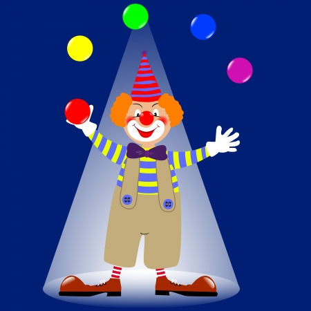 A clown juggling colorful balls Vector