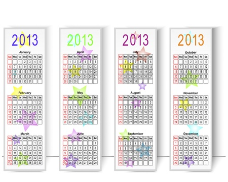 Calendar 2013 on vertical banners with stars Stock Vector - 14437926