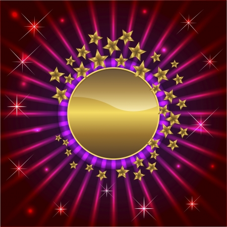 Abstract background with golden banner and stars Vector