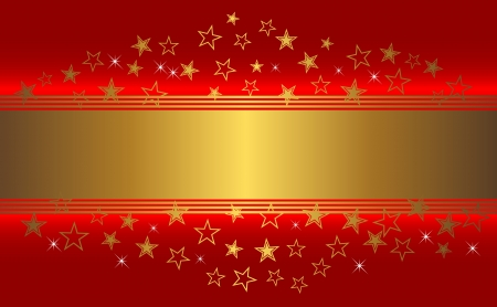 Red background with golden banner and stars