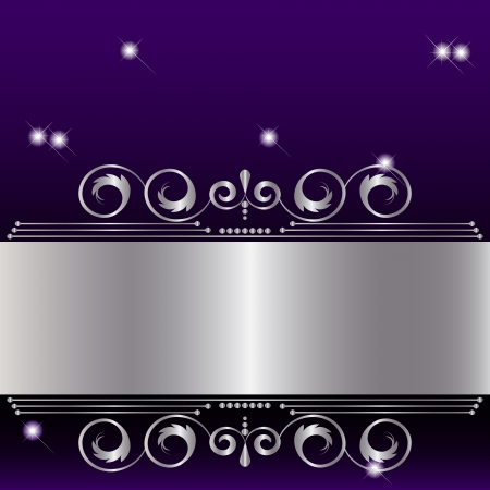 purple stars: Silver banner with floral design.