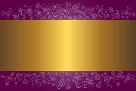 Gold banner on a floral background.  Vector