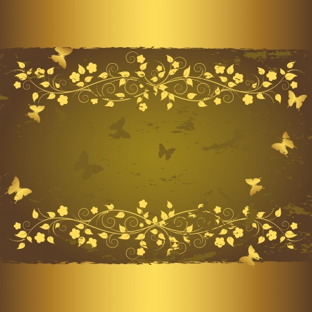 green and gold: Grunge floral background with butterflies.