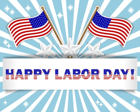 Labor Day background with a beautiful text on the banner and flags stickers, stars stickers.  Illustration