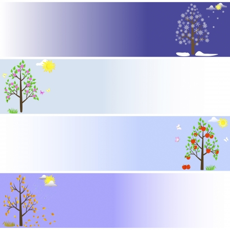 Set banners with trees in four seasons.  Vector