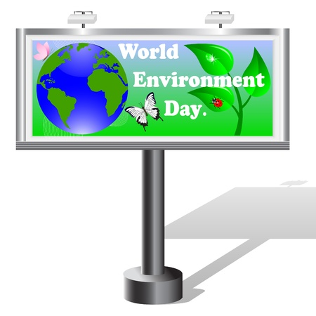 Billboard isolated on white. World Environment Day.  Vector