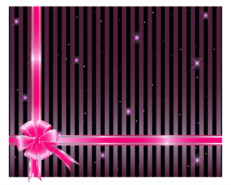 Gift bow and ribbon against a striped background. Vector