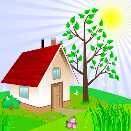 House and yard with landscaping.  Vector