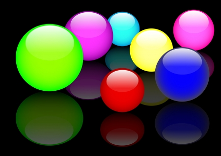 Glass spheres with reflection on black background.  Vector