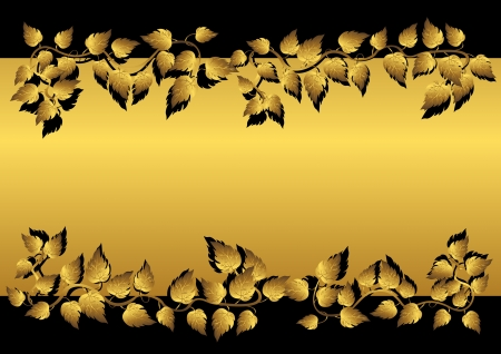 Gold leaves and banner on the black. Vector