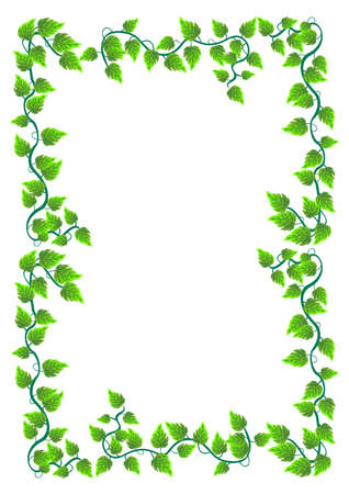 Floral frame with leafs, isolated on white background.  Stock Vector - 14572717