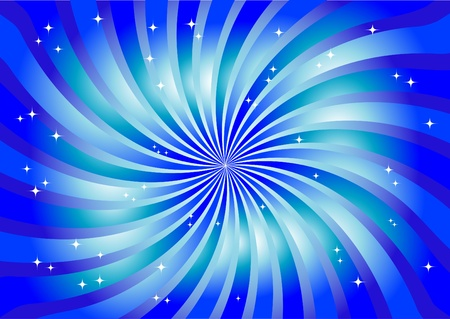 Abstract bright swirl in blue color with lights.  Vector