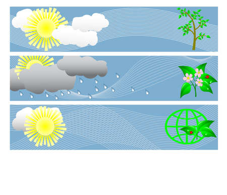 banners, Weather and ecology.  Vector