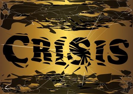 crashed: Crashed word  Illustration