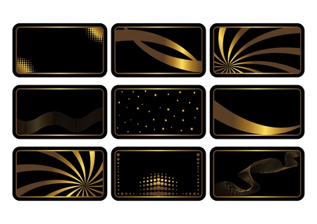 Set of cards, gold on the black. Business cards. Visiting cards. Invitations.   Vector