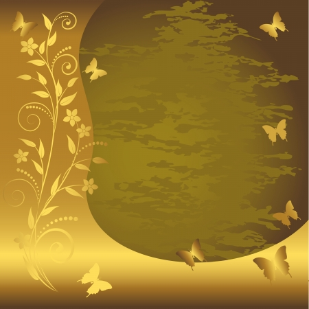 Grunge floral background with gold banner and butterflies.  Vector
