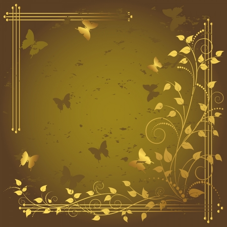 Grunge floral background with butterflies.  Stock Vector - 14572687