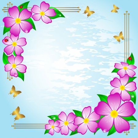 Floral background with ladybirds and butterflies. Vector