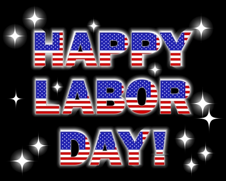 Labor Day. Celebratory background with a glowing text and, fireworks.