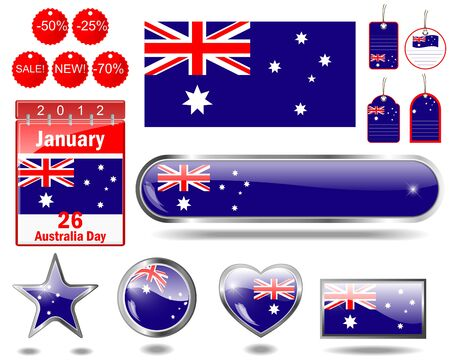 Australia day website icons. (flag, calendar icon, web buttons, sticker sale, tag, label)