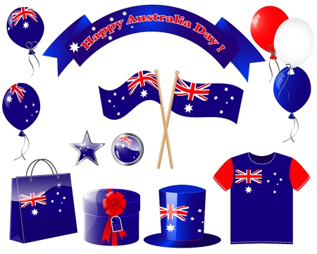 paper hats: Australia day. Website icons. (flag, balloon, t-shirt, buttons, gift, hat )