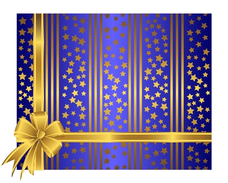 Golden ribbon with bow against a striped and stars background.  Stock Vector - 14718852