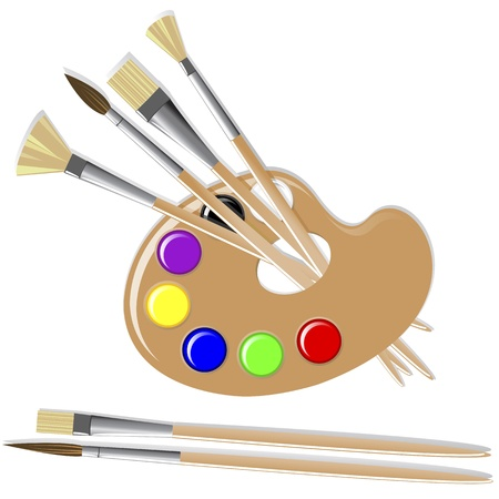 art and craft equipment: Art palette with paints and brushes.