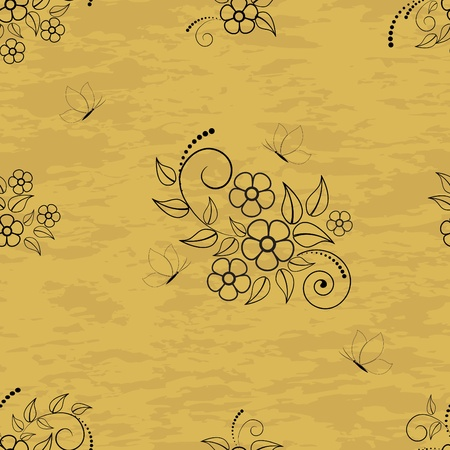 Seamless pattern with flowers and butterflies on grunge background.  Vector